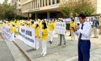 Nhiều người đến trước Lãnh sự quán Trung Quốc tại Mỹ, kêu gọi chấm dứt đàn áp Pháp Luân Công