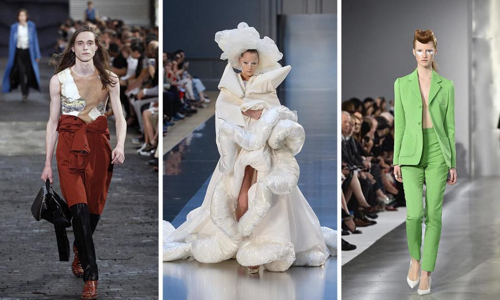 Nhà thiết kế John Galliano cho thương hiệu thời trang cao cấp Maison Margiela của ông đã giới thiệu ba người mẫu nam trên đường băng trong một buổi trình diễndành riêng cho thời trang nữ.