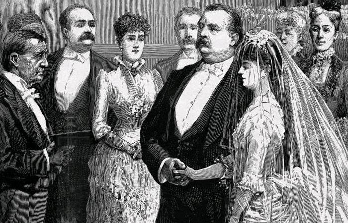 Đám cưới của Tổng thống Grover Cleveland (Tổng thống thứ 24, nhiệm kỳ 1893-1897) và cô dâu Frances Folsom.