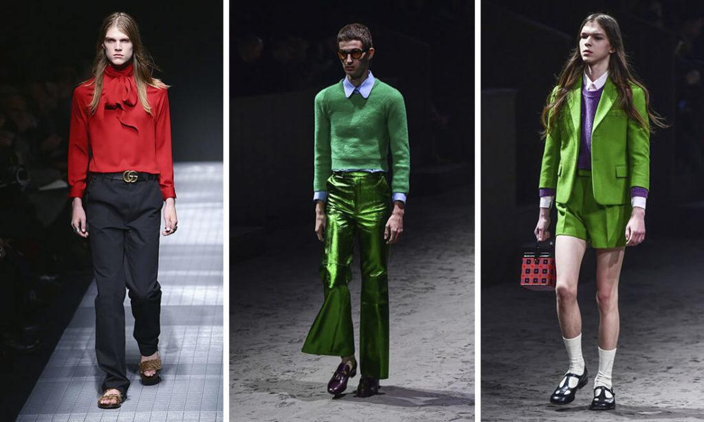 Nhà thiết kế thời trang Gucci là Alessandro Michele đã triển lãm những bộ trang phục hoàn toàn dành cho nam giới, nhưng lại theo chiều hướng vô cùng nữ tính.
