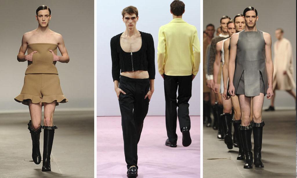 """Bộ sưu tập của thương hiệu J.W. Anderson đã khiến công chúng """"sốc"""" với hình ảnh các mẫu nam trong ... những chiếc váy ngắn, thậm chí là váy quây."""