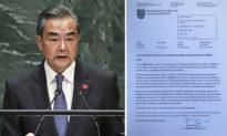 Thư của Thị trưởng Praha-Řeporyje, Cộng hòa Séc gửi Ngoại trưởng Trung Quốc Vương Nghị