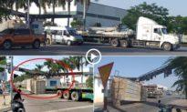 [Clip] Chở cồng kềnh, xe container kéo gãy cổng chào Khu Công Nghiệp Tràng Duệ