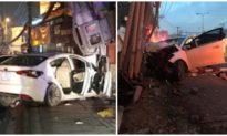 Đi ô tô trộm heo đất ở TP. HCM, nhóm đối tượng bỏ chạy tông gãy cột điện