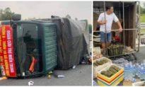 Xe chở đồ cứu trợ người dân vùng lũ miền Trung bị lật trên cao tốc