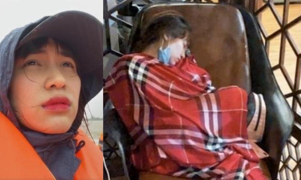 Xúc động cảnh Hòa Minzy nằm gục kiệt sức sau 2 đêm thức trắng cứu trợ bà con vùng lũ
