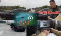 [CLIP] CSGT lập biên bản lái xe BMW phóng tốc độ 223km/h trên cao tốc: 'Em vội đi ăn cưới'