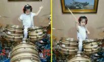 """Clip bé gái 5 tuổi chơi trống chuyên nghiệp khiến dân mạng """"dậy sóng"""""""