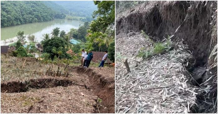 Mưa lớn khiến núi ở Nghệ An bị nứt, hàng chục hộ dân phải di dời khẩn cấp