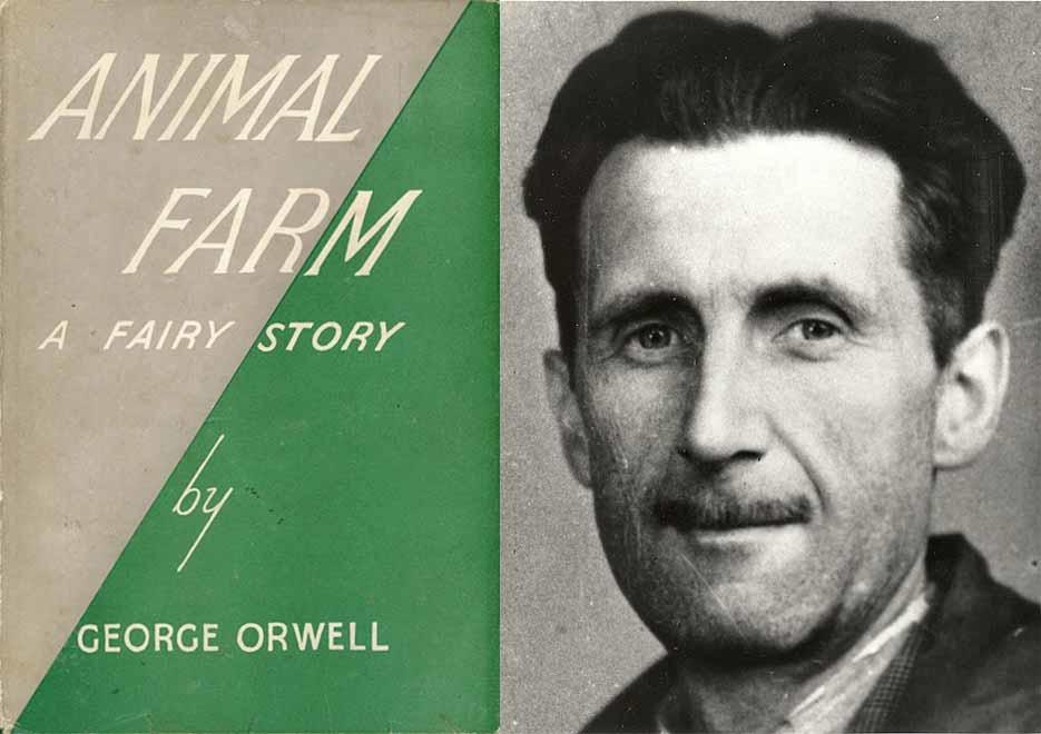 """""""Trại súc vật"""", một tiểu thuyết ngụ ngôn nổi tiếng của George Orwell, quyển sách được xuất bản lần đầu tiên ở Anh vào ngày 17 tháng 8 năm 1945."""