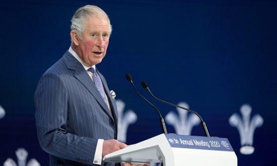 Thái tử Anh Charles có bài phát biểu tại Diễn đàn Kinh tế Thế giới trong cuộc họp thường niên của Diễn đàn Kinh tế Thế giới (WEF) ở Davos, vào ngày 22 tháng 1 năm 2020. (Ảnh của Fabrice COFFRINI / AFP/Getty)