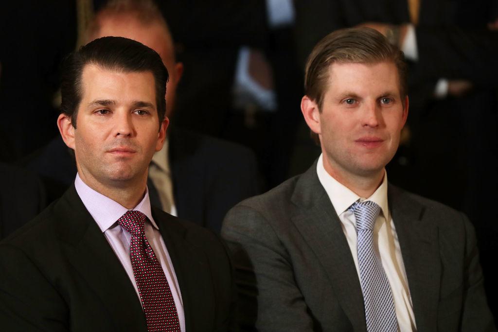 Donald Trump Jr. (L) và Eric Trump, con trai của Tổng thống Hoa Kỳ Donald Trump, tham dự buổi lễ đề cử Thẩm phán Neil Gorsuch vào Tòa án Tối cao tại Phòng Đông của Nhà Trắng ngày 31 tháng 1 năm 2017 tại Washington DC. (Ảnh của Chip Somodevilla / Getty Images)