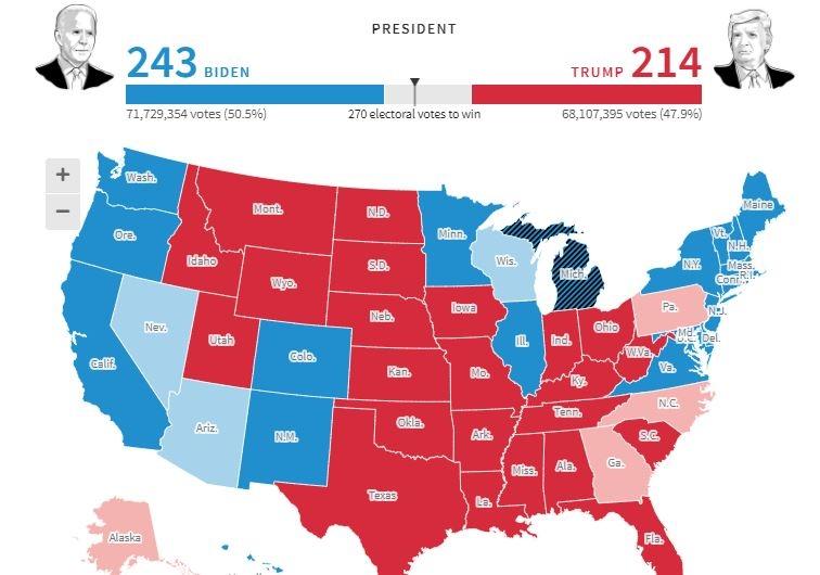 Thống kê kết quả sơ bộ bầu cử tổng thống Mỹ của Reuters tối 5/11 (giờ VN)