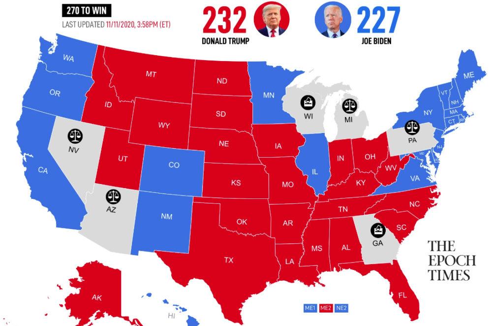 Cập nhật kết quả bầu cử tổng thống Mỹ 2020 ngày 11/11/2020. (Nguồn: The Epoch Times)