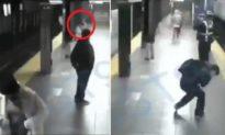 [Video] Kinh hoàng cảnh người phụ nữ bị đẩy xuống đường ray lúc tàu chạy đến, phép màu xảy ra sau đó