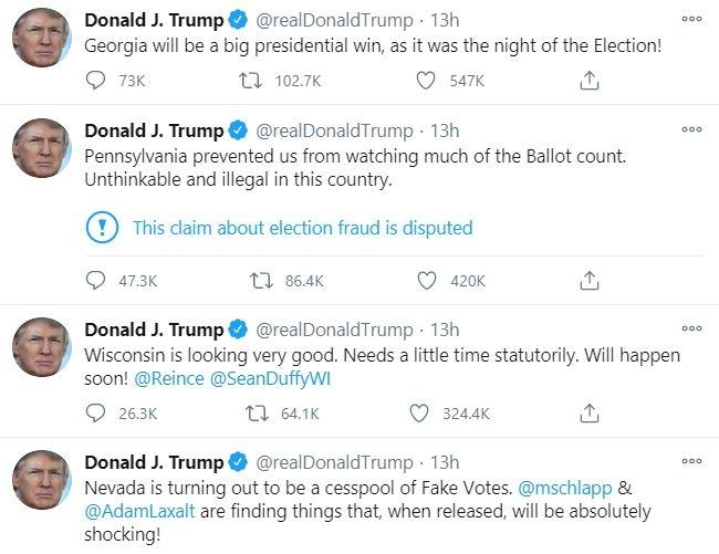 Loạt tweet của Tổng thống Trump hôm 9/11.