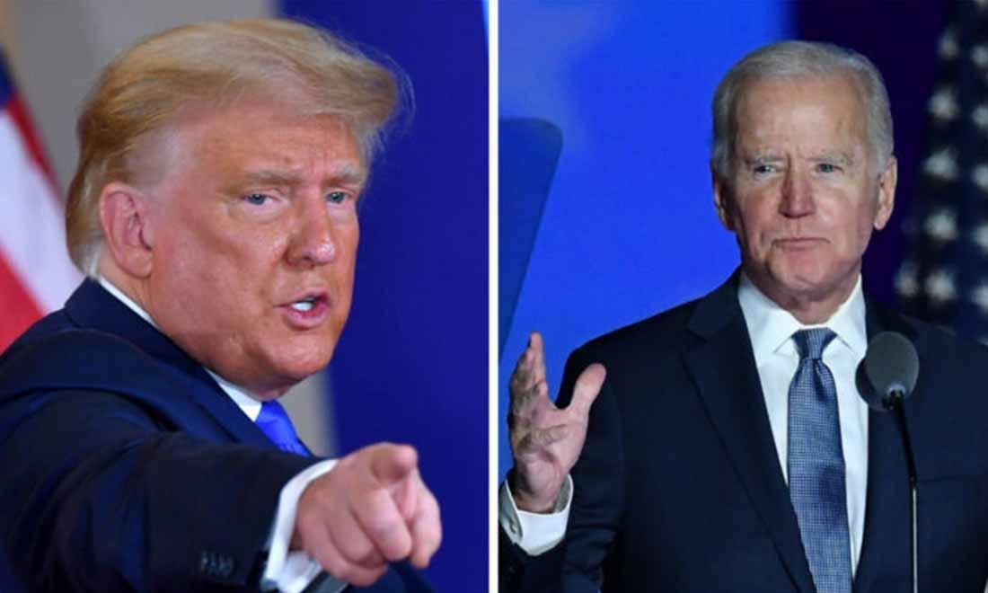 Tổng thống Donald Trump ra dấu tay sau khi phát biểu trong đêm bầu cử tại Phòng Đông của Nhà Trắng ở Washington, vào sáng sớm ngày 4/11/2020; Ứng cử viên tổng thống đảng Dân chủ Joe Biden phát biểu trong đêm bầu cử tại Trung tâm Chase ở Wilmington, Delaware, vào đầu ngày 4/11/2020. (Getty Images)