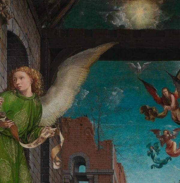 Một Thiên Thần cầm một bức tranh cuộn (Phạm vi công cộng)