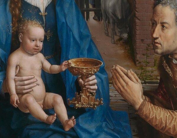 """Chúa Giê-su lấy một đồng tiền vàng, trong bức tranh """"Sự tôn thờ của các hiền sĩ"""". (Phạm vi công cộng)"""