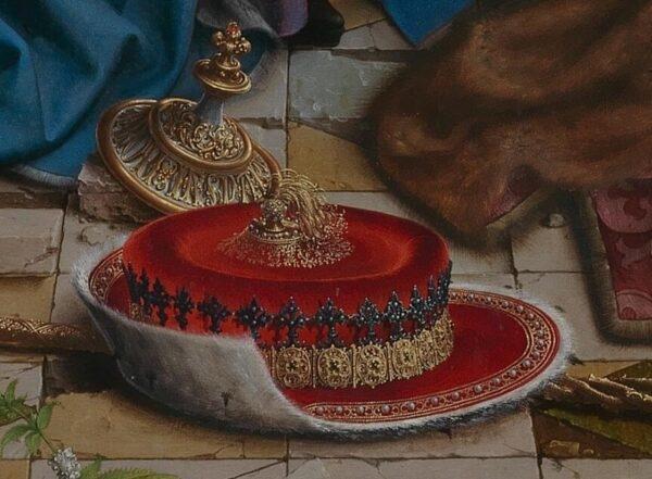 """Chiếc mũ đỏ của Vua Caspar có khắc tên của ông, trong bứa tranh """"Sự tôn thờ của các hiền sĩ."""" (Phạm vi công cộng)"""