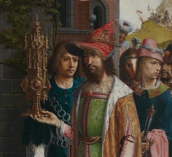 Vua Melchior với những người hầu cận của ông, đứng sau Caspar (Phạm vi công cộng)
