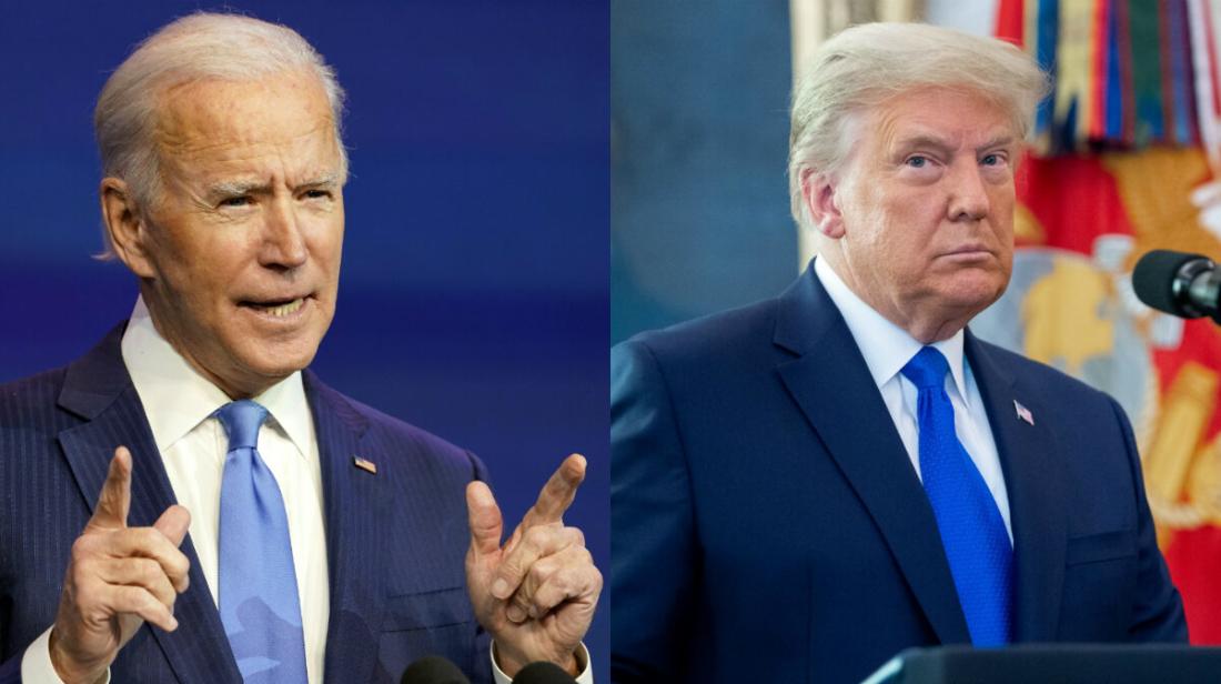 Ứng cử viên tổng thống đảng Dân chủ Joe Biden, trái, và Tổng thống Donald Trump. (Ảnh AP; Getty Images)
