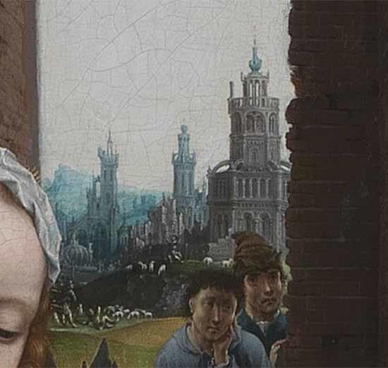 """Những con cừu và một thị trấn lớn ở hậu cảnh, được thể hiện trong chi tiết """"Sự tôn thờ của các hiền sĩ."""" (Phạm vi công cộng)"""