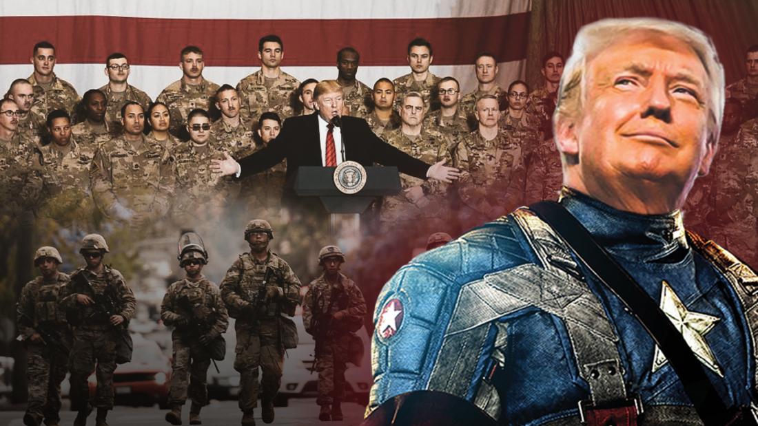 Có thể khẳng định là Tổng thống Trump có thẩm quyền để thực thi Thiết quân luật và tiêu chuẩn thực hiện tương đối rộng. Miễn là có thể chứng minh rằng một số khu vực nhất định của Hoa Kỳ hiện đang đối mặt với một cuộc khủng hoảng an ninh công cộng và các phương pháp thông thường đã thất bại, Tổng thống có thể tuyên bố Thiết quân luật. (Ảnh: NTD Việt Nam tổng hợp)