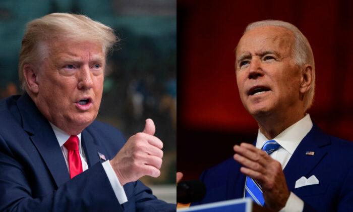 Tổng thống Donald Trump, trái và ứng cử viên tổng thống của đảng Dân chủ Joe Biden trong các bức ảnh.