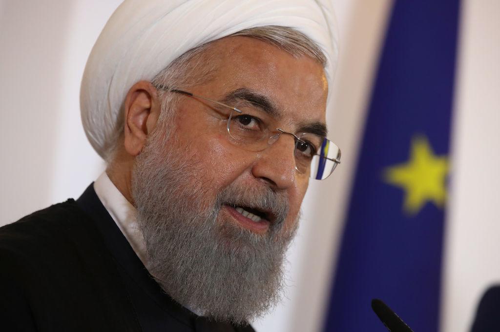 """Tổng thống Iran Hassan Rouhani tuyên bố vào tuần trước. """"Chúng tôi rất vui khi thấy Trump ra đi""""."""