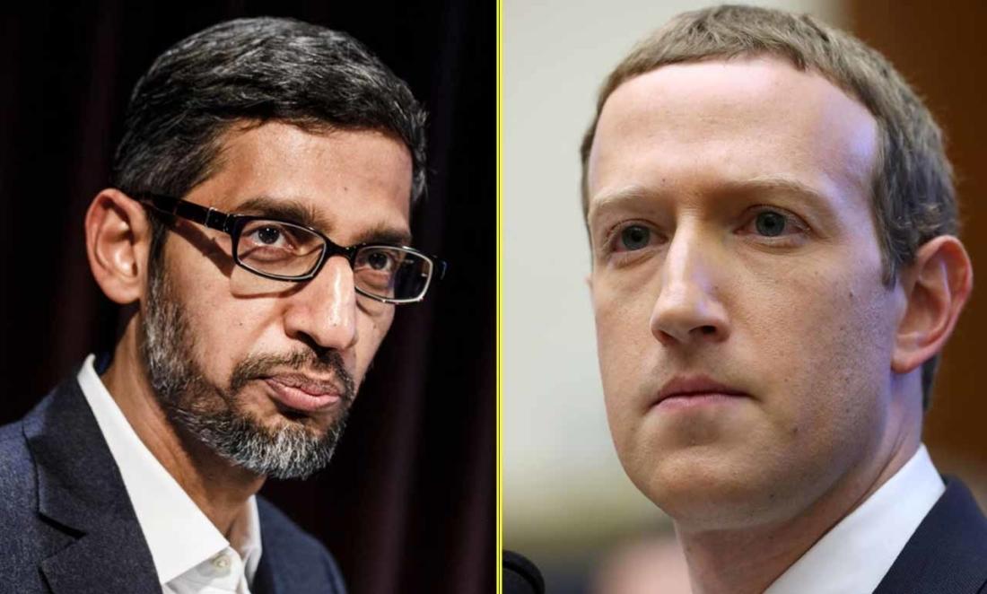 Giám đốc điều hành Google Sundar Pichai và Giám đốc điều hành Facebook Mark Zuckerberg (Tổng hợp)