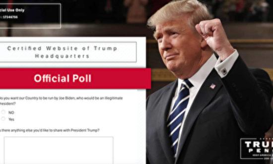 """Hai câu hỏi của bảng khảo sát trên trang web """"Trump Action"""" của Đảng Cộng hòa (Ảnh chụp màn hình trang web)"""