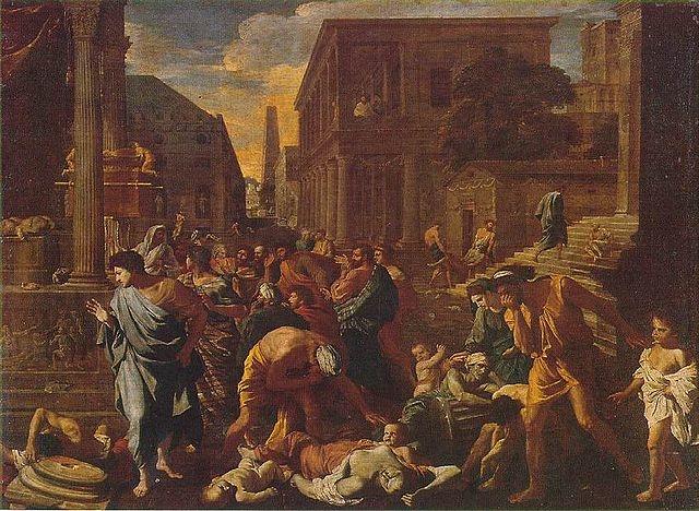 Bức tranh sơn dầu The Plague of Ashdod (Bệnh dịch của Ashdod) do Nicolas Poussin vẽ năm 1630 tại Pháp.