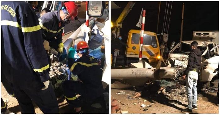 Xe tải đâm văng xe máy làm gãy cột điện, 3 người ở Nghệ An tử vong
