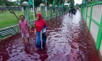 Một ngôi làng ở Indonesia xuất hiện 'lũ lụt đỏ'