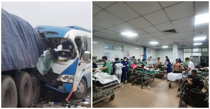Xe khách đâm xe đầu kéo lúc rạng sáng, hơn 20 người thương vong tại Nghệ An