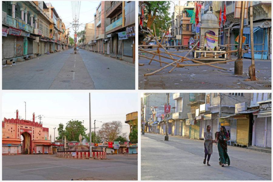 Một khu chợ vắng vẻ ở Beawar (Ấn Độ) sau khi chính quyền địa phương thực hiện lệnh giới nghiêm từ cuối tuần qua. (Ảnh: Getty)