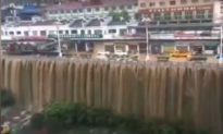 Trung Quốc mưa lớn tái hiện 'thác nước' trong thành phố, hủy hơn 200 chuyến bay