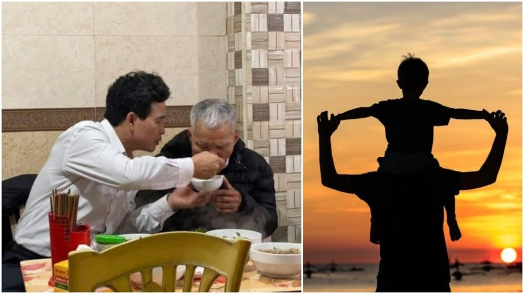 Cảm động trước cảnh con trai ân cần đút cha ăn - Nhân dịp 'Ngày của cha' ngẫm về đạo làm con