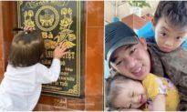 Xúc động cảnh cha đưa 2 con nhỏ ra mộ mừng sinh nhật mẹ - 'Vợ tôi kiên cường đến phút cuối'