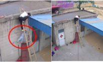 Leo thang tre lên nóc nhà, bé 2 tuổi trượt ngã may được bố cứu kịp thời