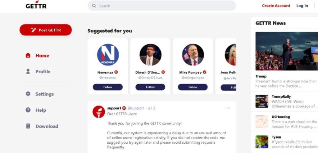 Mạng xã hội của đội ngũ Trump, GETTR, bị tấn công thời gian ngắn vào ngày ra mắt