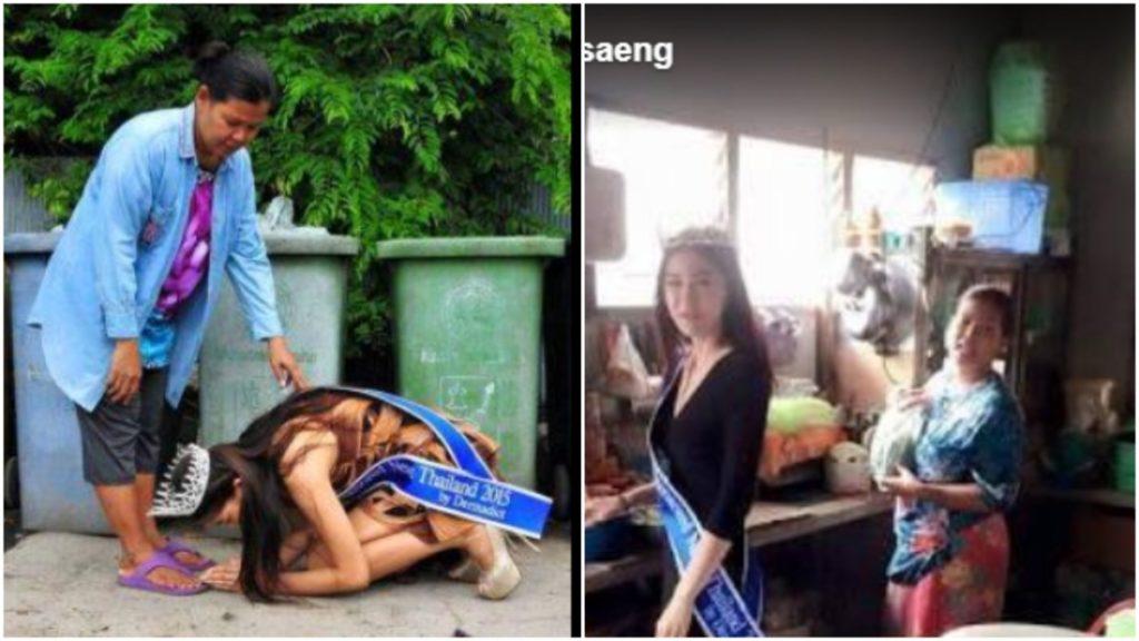 Lọ lem thời hiện đại: Hoa hậu Thái Lan 2015 quỳ gối cảm tạ người mẹ nhặt rác của mình