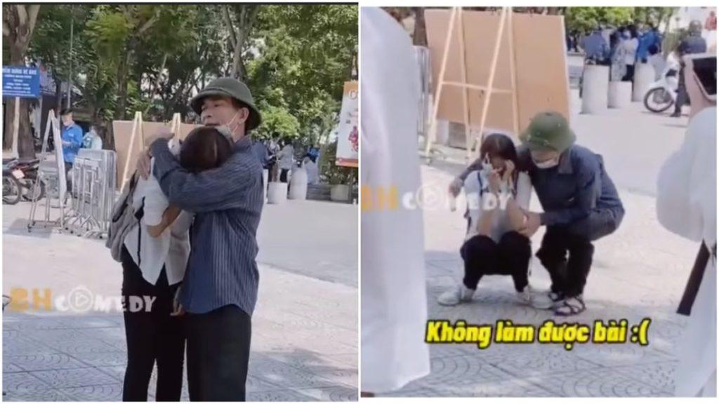 Nước mắt sĩ tử: Nữ sinh khóc nức nở vì không làm được bài và 'cái ôm của bố'
