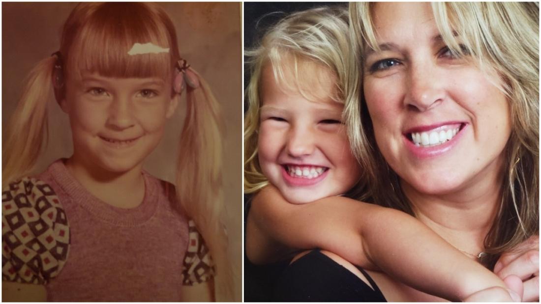 Julie lúc nhỏ (ảnh trái) và ảnh cô khi trưởng thành chụp cùng con gái mình (ảnh phải)