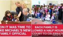 Cậu bé 5 tuổi người Mỹ được nhận nuôi, cả lớp mẫu giáo đến buổi lễ để chúc mừng