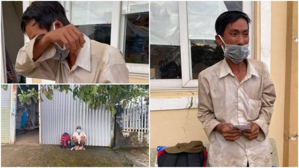 Đi bộ 16 ngày về quê giữa dịch Covid-19, người đàn ông nghèo bật khóc khi nhận được số tiền hỗ trợ