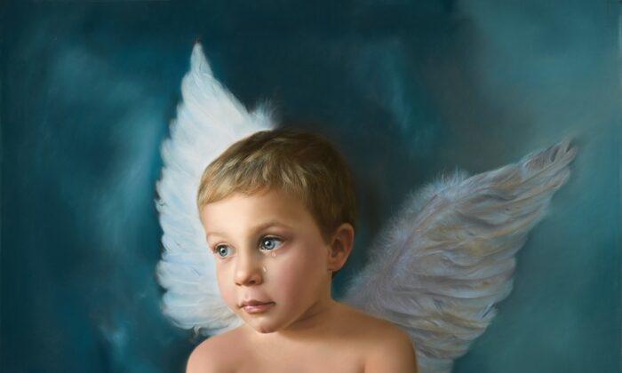 'Heaven Cries' (Tiếng khóc thiên đường) của họa sĩ Tây Ban Nha Montse Jara