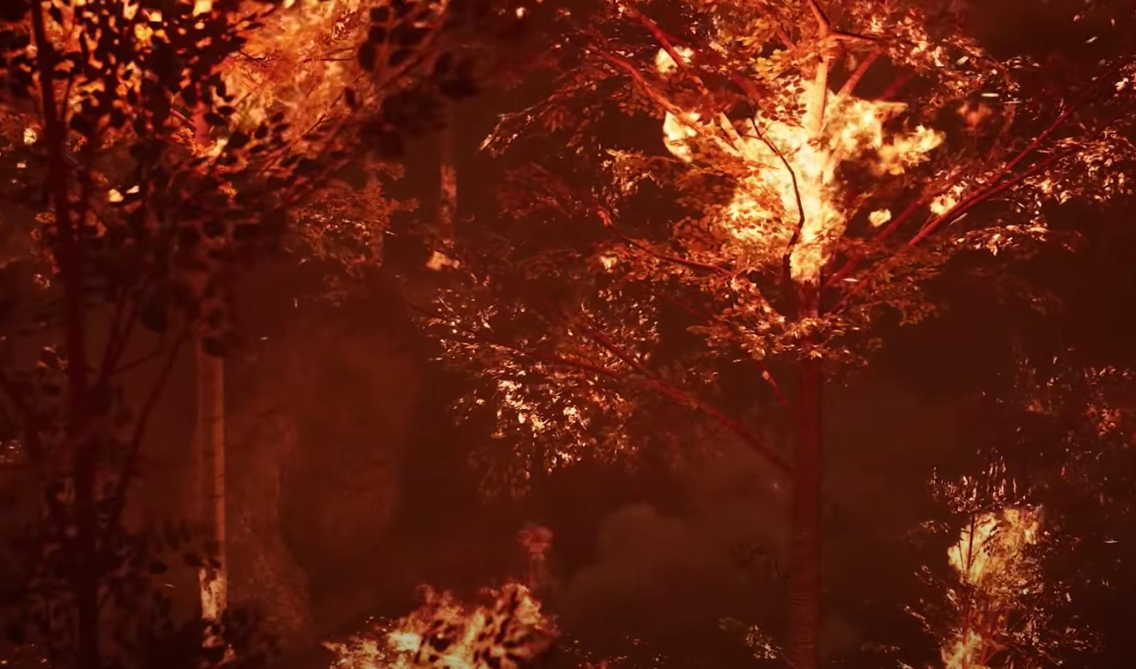 Tại nhân gian, hỏa long vẫy đuôi tương ứng với hỏa hoạn xảy ra (Ảnh chụp màn hình video)