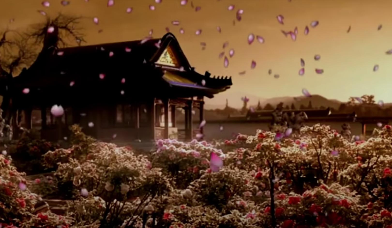 Ngày Trương Đạo Lăng chào đời, mây vàng bao trùm căn phòng sinh, mây tím tràn ngập đình viện (Ảnh chụp màn hình video)